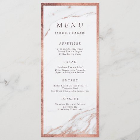 Rose gold foil marble luxury modern wedding menu