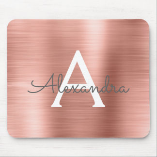 Rose Gold Foil Monogram Name Mousepad