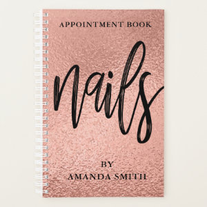 Rose Gold Foil Nails Appointment Book Planner
