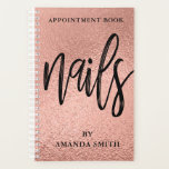 "Rose Gold Foil Nails Appointment Book Planner<br><div class=""desc"">Trendy chic appointment book for your nails business featuring rose gold foil background and  ''nails'' in modern brushed handwritten font. Personalize with your name or business name.</div>"
