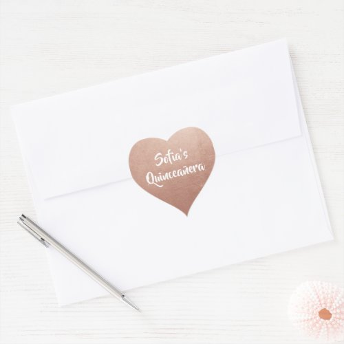 Rose Gold Foil Photo Personalized Quinceaera Heart Sticker