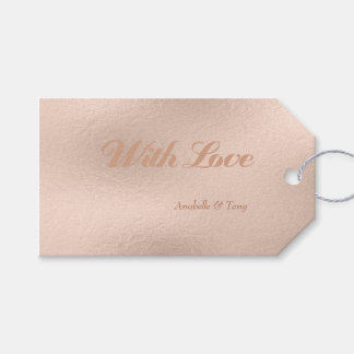Rose Gold Foil Pink Pastel Wedding Day Gift Tags