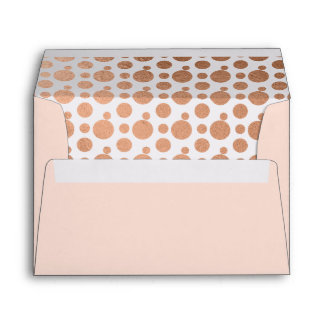Rose Gold Foil Polka Dot Inside Lined Envelope