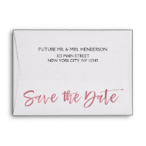 Rose Gold Foil Save the Date Envelope