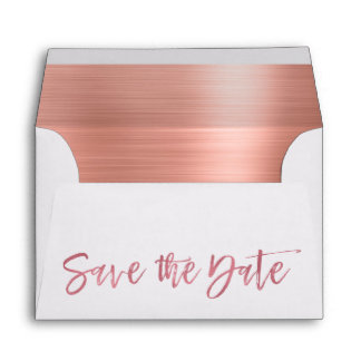 Rose Gold Foil Save the Date Envelope