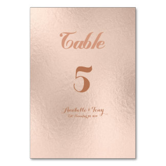 Rose Gold Foil Table Numbers Card