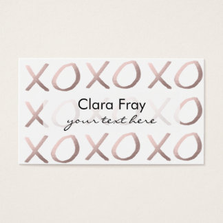 rose gold foil typography hugs and kisses xoxo business card