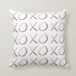 rose gold foil typography hugs and kisses xoxo throw pillow