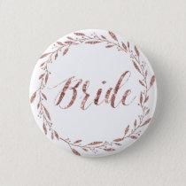 Rose Gold Foil Wedding Buttons Wreath Bride