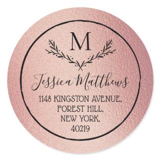 Rose Gold Foil Wreath Monogram Return Address Classic Round Sticker