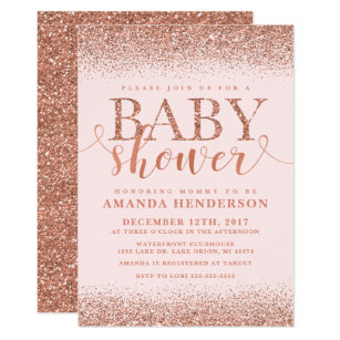 Rose gold baby shower invitations zazzle rose gold fox glitter baby shower invitation filmwisefo