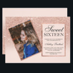 """Rose gold frame blush ombre photo Sweet 16 Invitation<br><div class=""""desc"""">A modern simple faux rose gold glitter stylish geometric frame with faux rose gold frame on customizable blush pink Sweet sixteen birthday party invitation,  add your photo .</div>"""