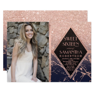Rose gold frame navy blue marble photo Sweet 16 Card