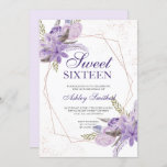 """Rose gold frame purple floral watercolor Sweet 16 Invitation<br><div class=""""desc"""">Rose gold geometric frame and glitter confetti typography Sweet 16 birthday with hand painted greenery watercolor leaf branches ,  purple lavender flowers,  perfect for spring and summer birthday party.</div>"""
