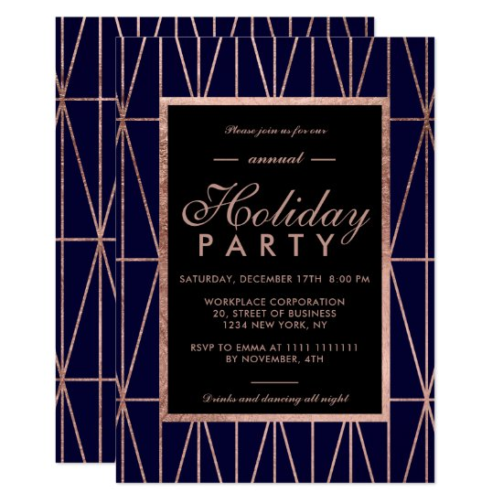 Rose gold geo navy blue winter corporate holiday invitation