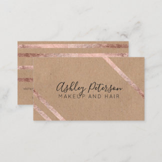 Rose gold geometric kraft hair makeup typography business card