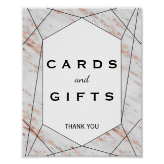 Rose Gold Geometric Marble Cards & Gifts Sign