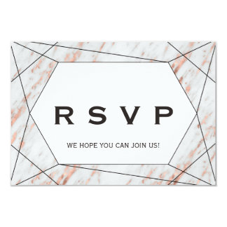 Rose Gold Geometric Marble Menu Choice RSVP Card