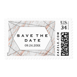 Rose Gold Geometric Marble Save the Date Postage