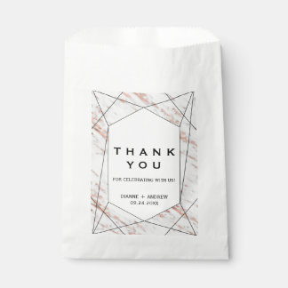 Rose Gold Geometric Marble Thank You Favor Bag