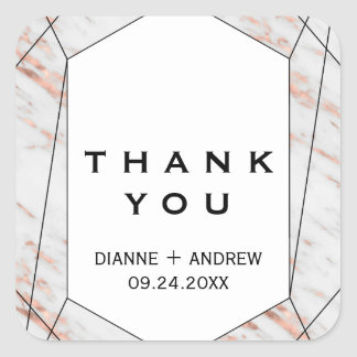 Rose Gold Geometric Marble Thank You Favor Square Sticker