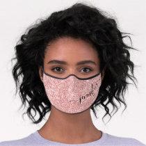 Rose Gold Glam Glitter Script Name Premium Face Mask