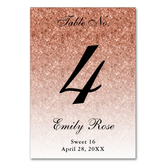 Rose Gold Glam Glitter Table Number Card