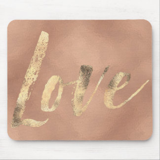 Rose Gold Glam Love Mouse Pad