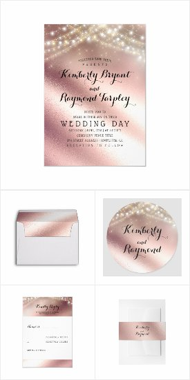 Rose Gold Glitter Wedding Invitation Set