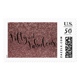 Rose Gold Glitter 50 & Fabulous Typography Postage
