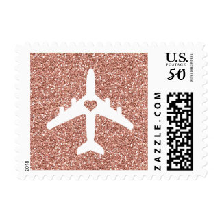 Rose Gold Glitter Airplane Heart Stamp