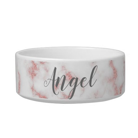 Rose Gold Glitter and Gray Marble Pet Bowl