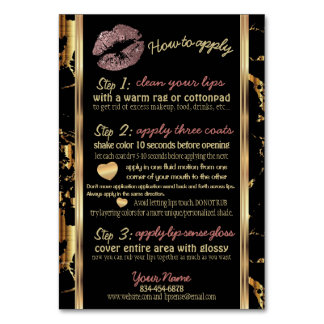 Rose Gold Glitter and Marble Lip Instructions Card