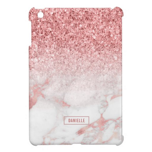Rose-gold glitter and marble ombre case for the iPad mini