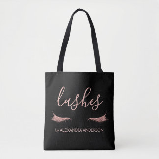 Rose Gold Glitter and Sparkle Eyelash Extension Tote Bag