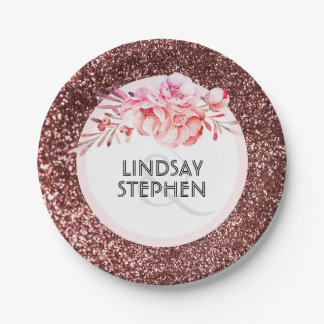 Rose Gold Glitter and Vintage Flowers Wedding Paper Plate