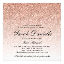 Rose Gold Glitter Bat Mitzvah Invitation