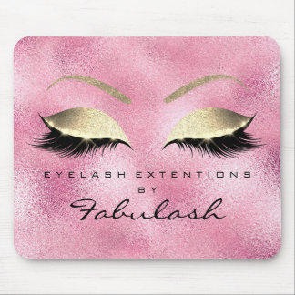 Rose Gold Glitter Beauty Lashes Makeup  Pink Mouse Pad
