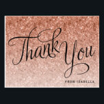 """Rose Gold Glitter Birthday Thank you Postcard<br><div class=""""desc"""">This trendy rose gold ombre glitter birthday thank you postcard features faux rose gold sparkly glitter and a fancy script letering. Add your information using the template form. Additional options for text and layout are available if you choose to customize further.</div>"""