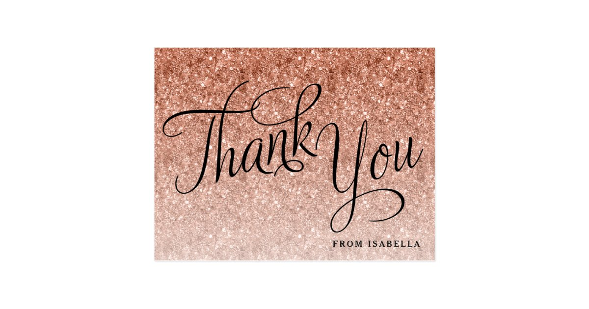 Rose Gold Glitter Birthday Thank You Postcard Zazzle Com