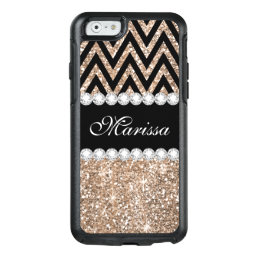 Rose Gold Glitter Black Chevron iPhone 6 Case