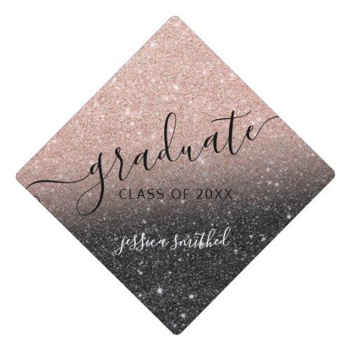 rose gold glitter black chic typography graduate graduation cap topper