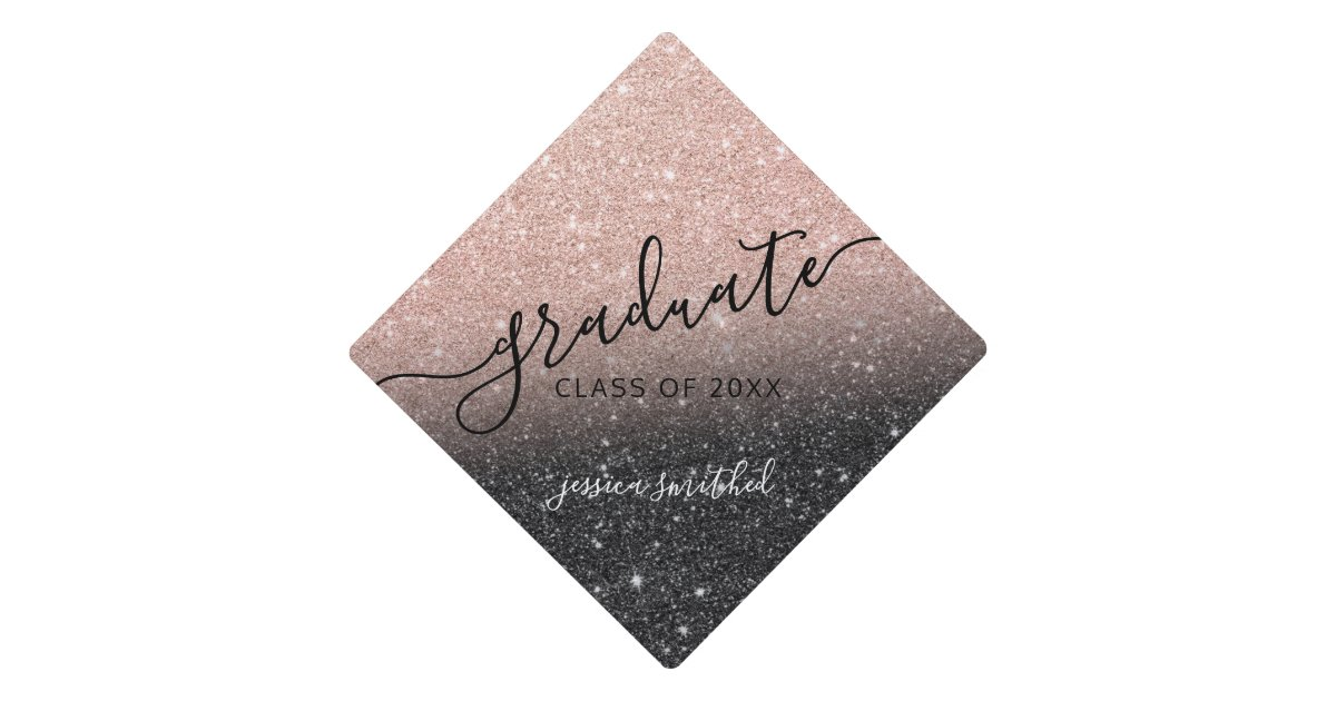 Rose Gold Glitter Black Chic Typography Graduate