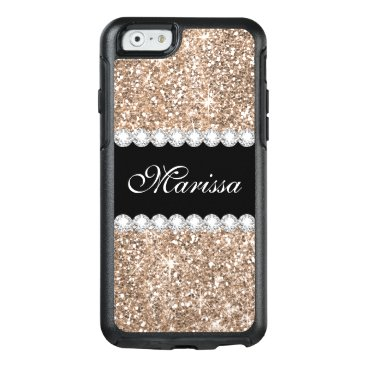 Christmas Themed Rose Gold Glitter Black Otterbox iPhone 6/6s Case