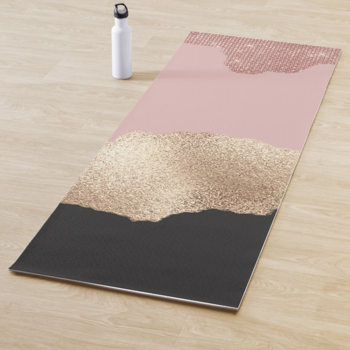 Rose Gold Glitter Black Pink Abstract Girly Art Yoga Mat Zazzle Com