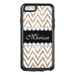 Rose Gold Glitter Black White Chevron OtterBox iPhone 6/6s Case