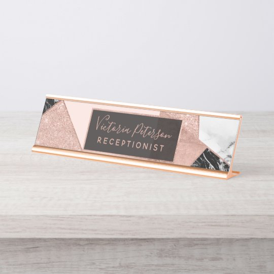 Rose Gold Glitter Black White Marble Geometric Desk Name
