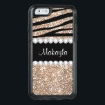"Rose Gold Glitter Black Zebra Otter iPhone 6 Case<br><div class=""desc"">Girly-Girl-Graphics at Zazzle: Classy Cool Colorful Modern Pastel Rose Gold Glitter Elegant Customizable Black Zebra Animals Stripes Pattern with Stylish Diamonds Pretty Bling OtterBox Symmetry Series Apple iPhone 6 / 6s Case to personalize with your beautiful name features a fashionably trendy chic design and makes a uniquely lovely birthday, Christmas,...</div>"