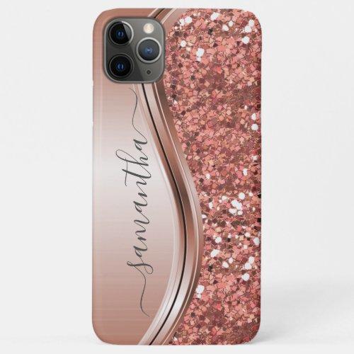 Rose Gold Glitter Bling Handwritten name Custom iPhone 11 Pro Max Case
