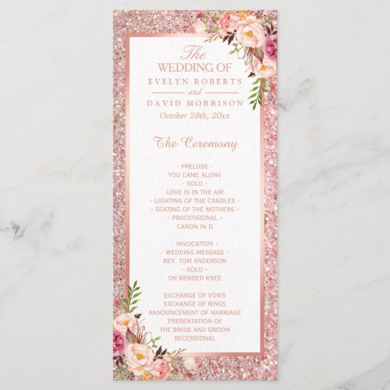 Rose Gold Glitter Blush Floral Wedding Program